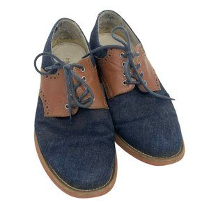 Pegabo men's denim navy and brown laced derby's